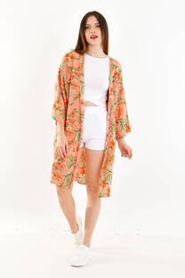 kimono largo fibrana estampada -