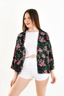 kimono corto fibrana estampada -