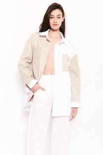 Camisa gabardina patchwork tricolor -