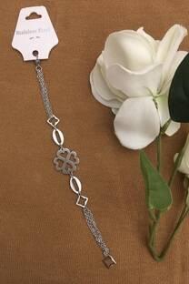 Pulsera cadenas con flor corazón Acero quirúrgico -