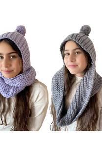 Gorro de lana con pompón con cuello doble vuelta incorporado para niños/as -