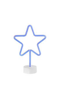 Luz neón led decorativa estrella.  Lleva 3 pilas AA, no incluidas.  100% plástico. Medidas: 30 cm x 20 cm / Profundidad: 10 cm -
