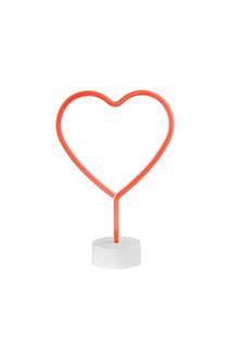 Luz neón led decorativa corazón.  Lleva 3 pilas AA, no incluidas.  100% plástico. Medidas: 30 cm x 15 cm / Profundidad: 10 cm -