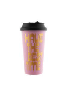 Vaso rosa plástico 450ml con tapa para café -
