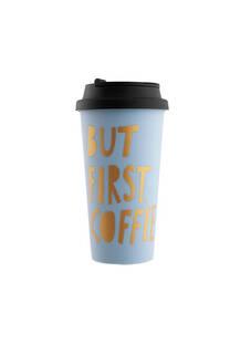 Vaso celeste plástico 450ml con tapa para café -