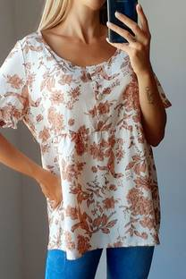 Blusa -Fibrana- -Flores- -