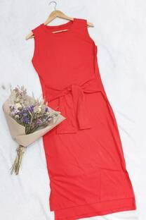 Vestido de Algodón con Lazo -