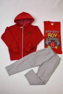 Promo pack campera de frisa niño + pantalón clásico de frisa + remera manga larga de algodón niño -