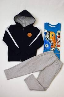 Promo pack campera de friza niño capucha forrada+remera línea premiun manga larga+pantalón clásico de friza  -
