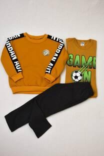 Promo pack buzo cuello redondo de friza  +remera manga larga + pantalón clásico de friza  -