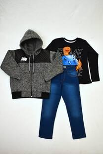 Promo pack campera de friza combinada + remera manga larga línea premiun + pantalón de jeans -