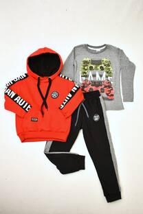 PROMO pack buzo de friza capucha forrada + Remera manga larga línea premium +babucha de friza niño -