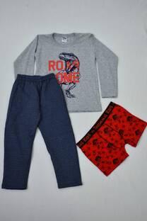 Promo pack remera manga larga + boxer de algodón + pantalón de friza  -