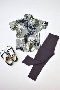 Promo pack camisa de FIBRANA + pantalón de gabardina corte chino + zapatillas talles 14 y 16 -
