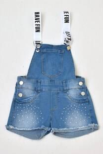 jardinero corto de jeans con strass niñas -