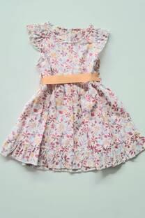 Vestido floreado con lazo poplin beba -