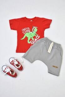 Promo pack remera manga corta línea bebé+ short pañalero de algodón rústico+ zapatillas -
