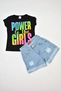 Promo pack remera manga corta línea premium+ shorts de jeans mom niñas -