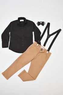 Promo pack camisa de bengalina + pantalón de gabardina corte chino + moño+ tiradores -