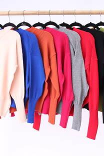 Sweater con pliegues, ajustes inferiores y escote redondo -