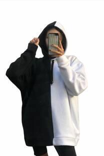 Maxibuzo Bicolor Blanco y Negro-unisex-Frisa peinado invisible premiun -