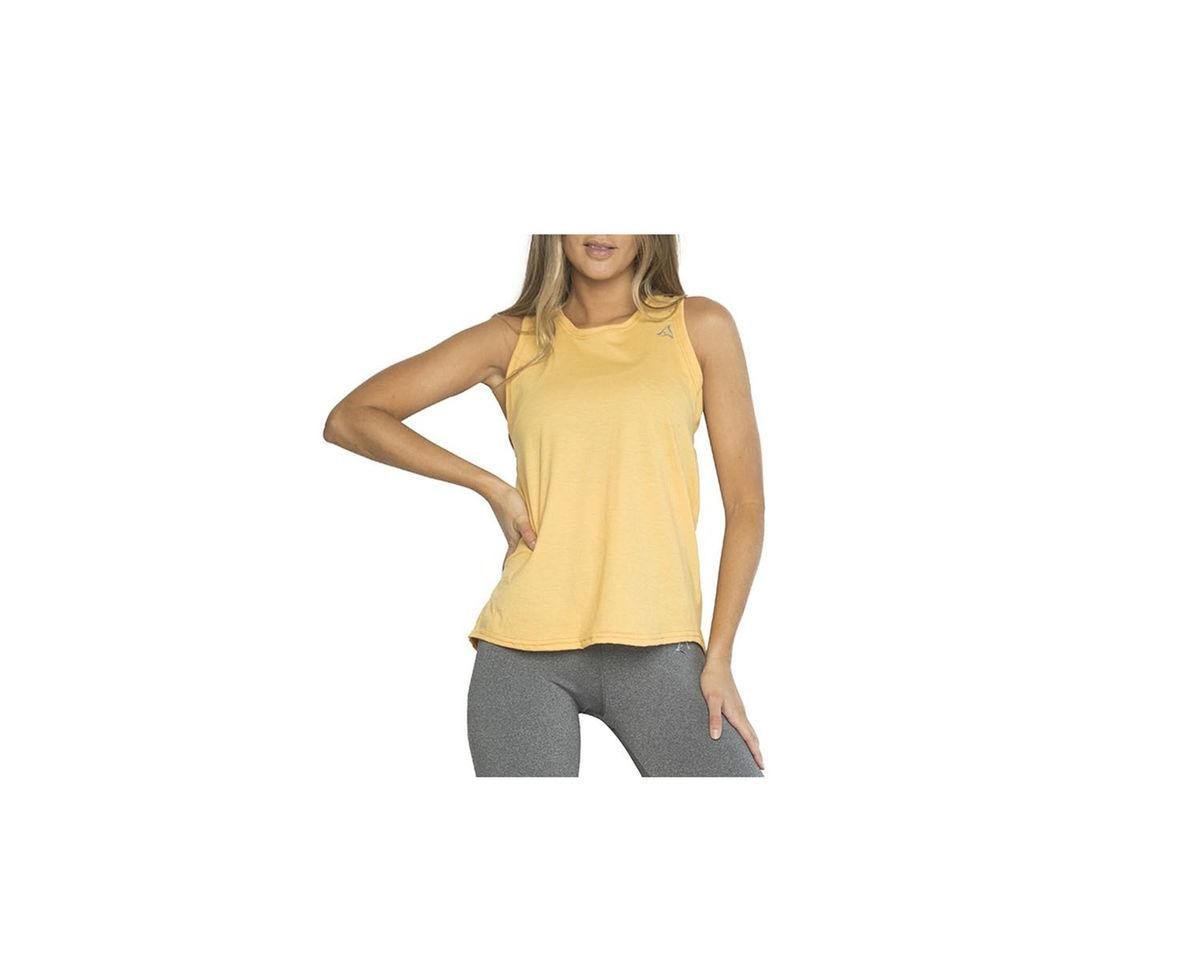 Imagen producto Musculosa con recorte, color Naranja.  Color: Naranja. Calce: Regular Composición: 90% poliester, 10% elastano. Recomendaciones de lavado: lavar con agua tibia, no planchar. 3