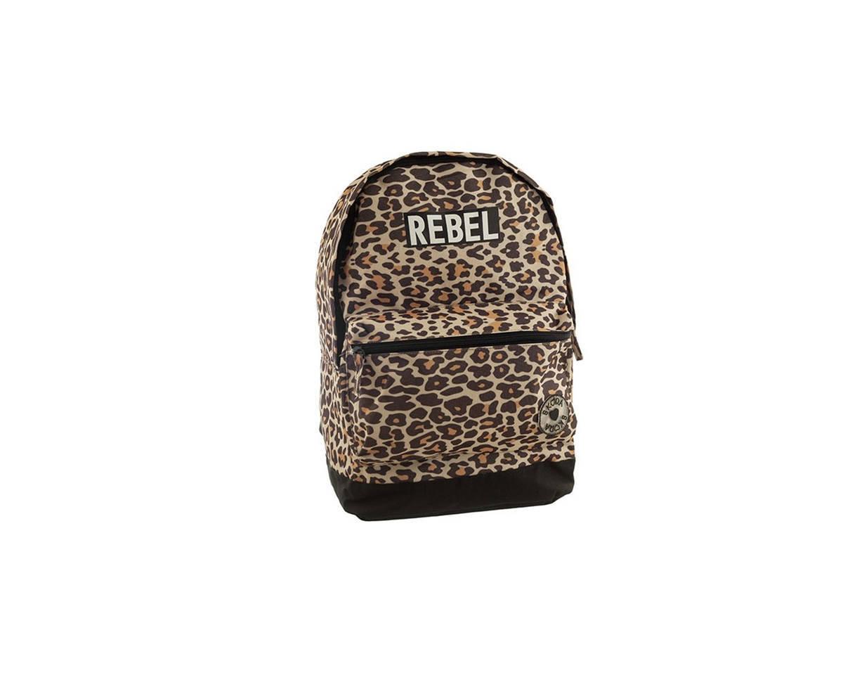 Imagen producto Mochila escolar de tela con estampado de leopardo. Posee bolsillos laterales y frontal con cierre.  Medidas: 40 cm x 30 cm 0