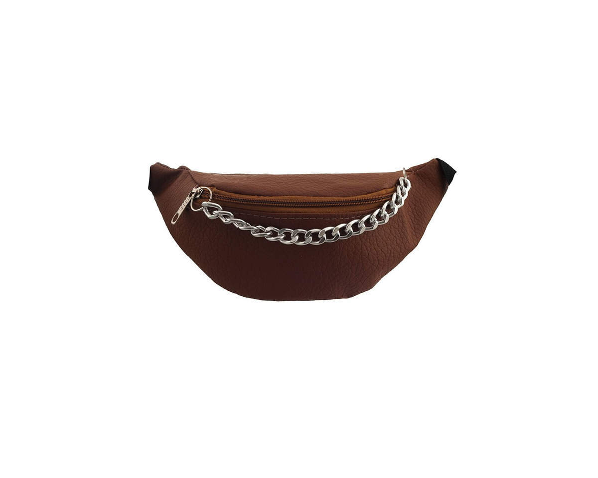Imagen producto Riñonera cuero ecológico lisa con cadena gruesa colgante, tira regulable con broche.  Medidas: 30 cm x 12 cm 3