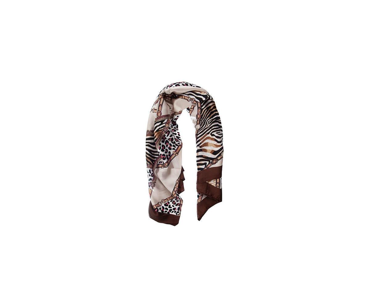 Imagen producto Pañuelo dama de seda cuadrado con estampado animal print.  Medidas: 90 cm x 90 cm 3