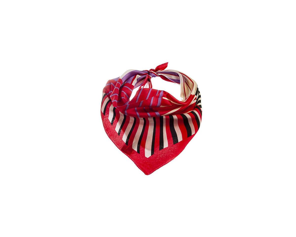 Imagen producto Pañuelo dama de seda cuadrado con estampado a rayas.  Medidas: 50 cm x 50 cm 3