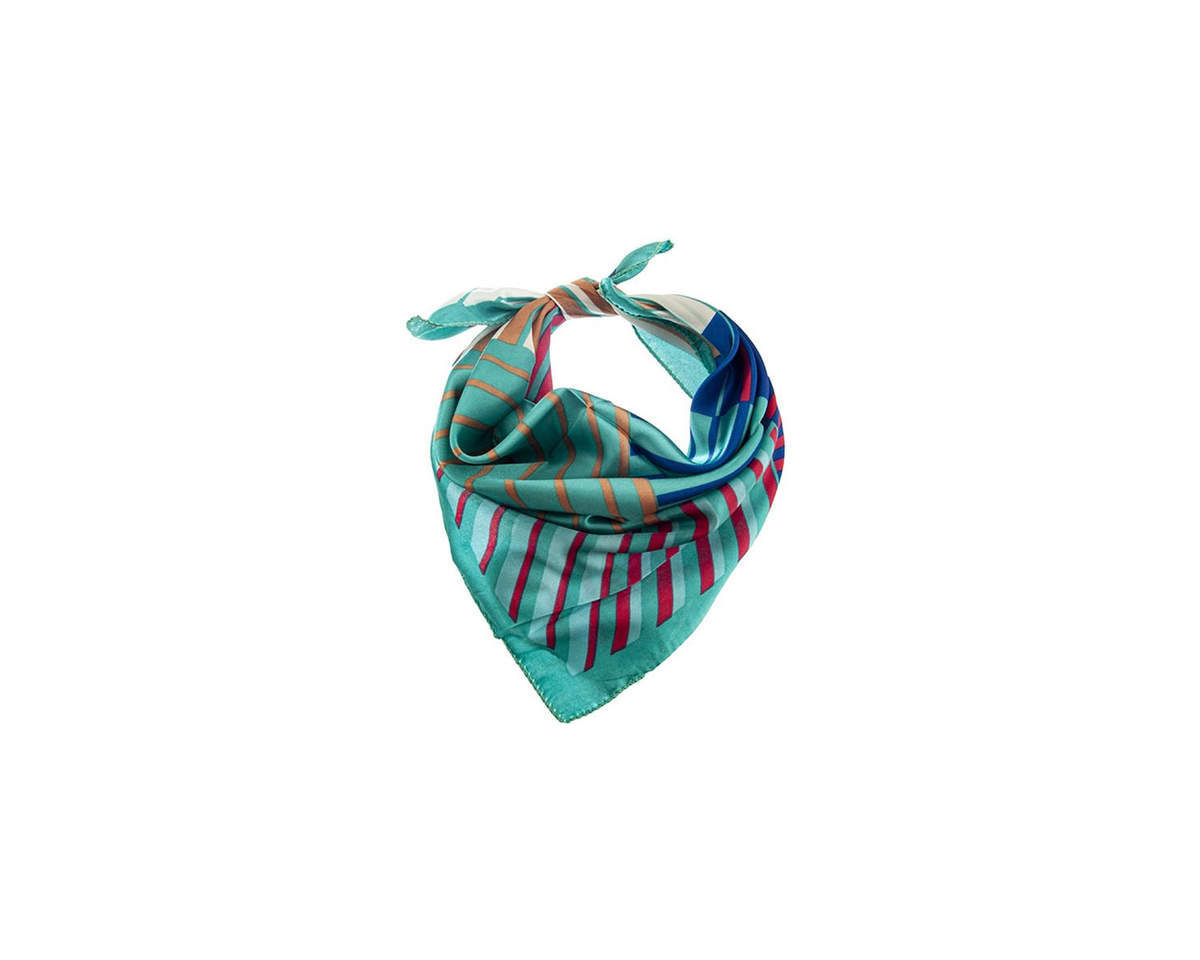 Imagen carrousel Pañuelo dama de seda cuadrado con estampado a rayas.  Medidas: 50 cm x 50 cm 2