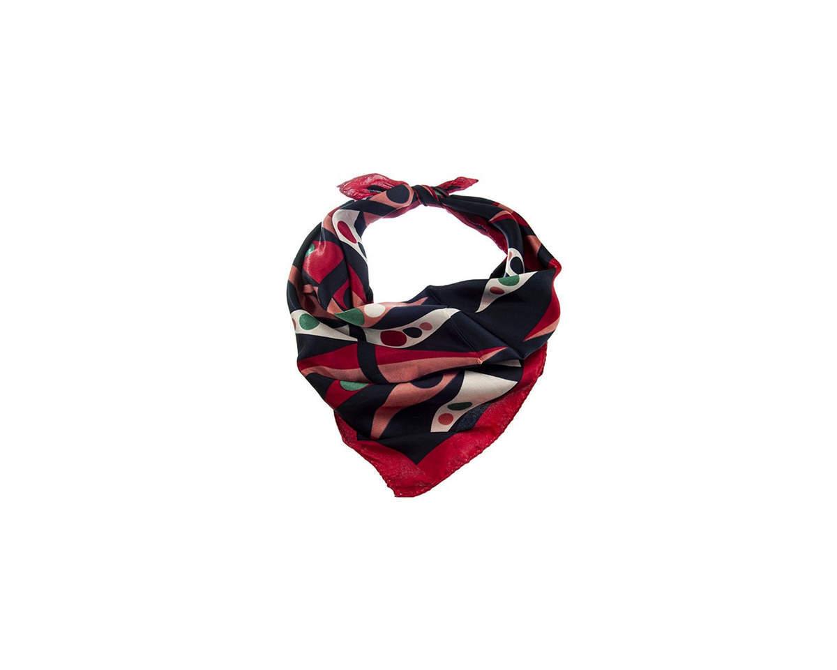 Imagen carrousel Pañuelo dama de seda cuadrado con estampado de colores.  Medidas: 50 cm x 50 cm 1