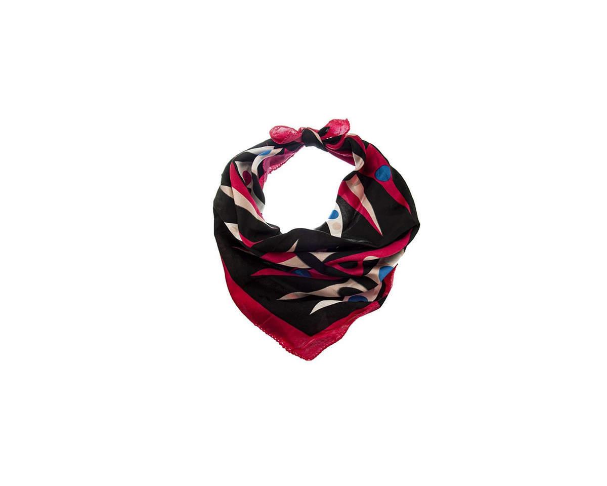 Imagen carrousel Pañuelo dama de seda cuadrado con estampado de colores.  Medidas: 50 cm x 50 cm 3