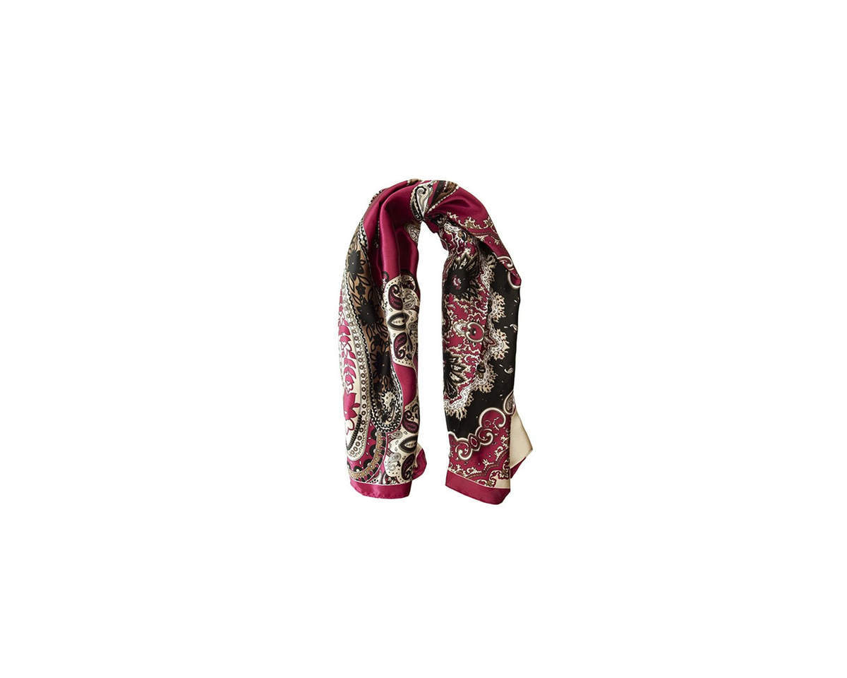 Imagen carrousel Pañuelo dama de seda cuadrado con estampado de mandala.  Medidas: 90 cm x 90 cm 3