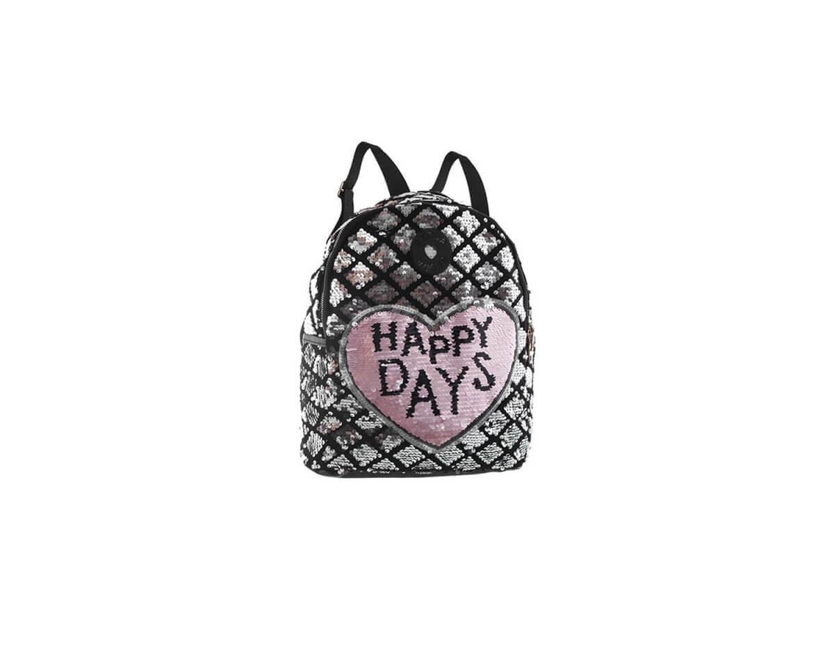 """Imagen producto Mochila de lentejuelas reversibles con diseño de corazón """"HAPPY DAYS"""" bolsillo chico interno y bolsillos laterales con tiras regulables.  0"""
