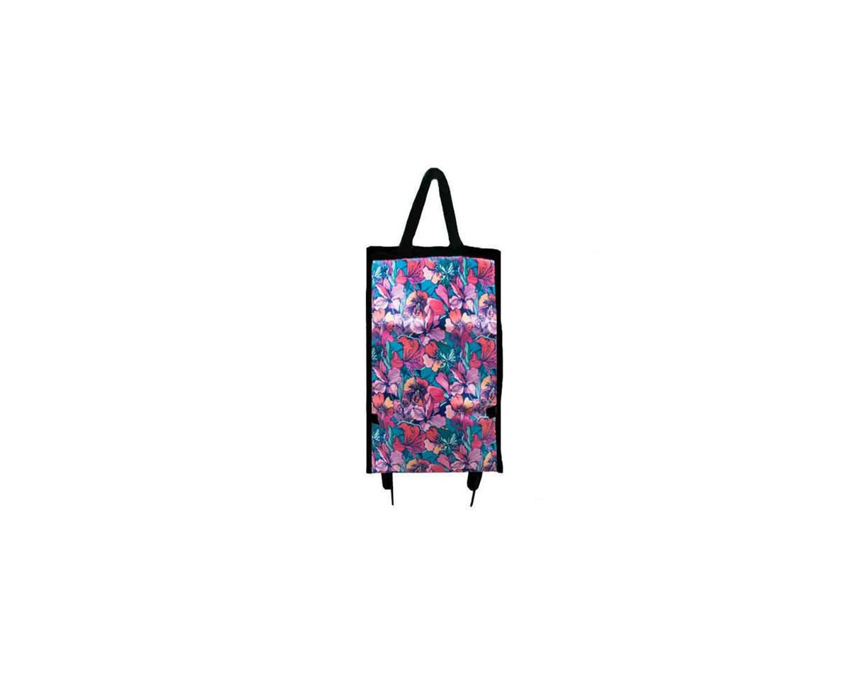 Imagen carrousel Bolso de lona y tela estampado, con ruedas para hacer compras 32 cm x 53 cm 2